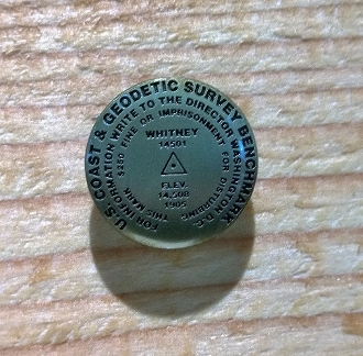 Mt Whitney survey benchmark pin